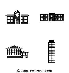 旅馆, 风格, 放置, 图标, 符号, web., 警察, 收集, 黑色, 描述, school.building, 摩天楼, raster, 股票