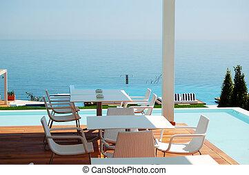 旅馆, 餐馆, 现代, pieria, 奢侈, 海, 希腊, 察看