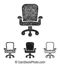旋回装置, セット, 芸術, -, スケッチ, 椅子, 線, アイコン