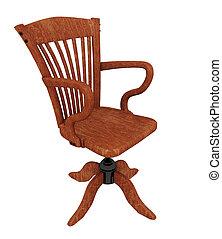 旋回装置, 木製である, 隔離された, 背景, 白, 椅子