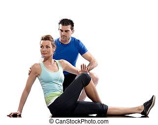 旋转, 伸直, one., 弯曲, 夫妇, 妇女, 你, 一, 姿势, 向着, it, 10-20, 带来, 人, 腹腔, 握住, 膝盖, 腿, 背景。, 测验, seconds., 其它, 坐, 白色, 释放,