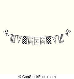 旗布, 平ら, アウトライン, エジプト, 国民, デザイン, 装飾, 旗, 休日, 日, 黒