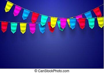 旗布, 装飾, 現実的, 旗, ベクトル, 3d