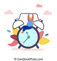 旗幟, 媒介, alarm., 管理, 嘗試, 鐘, posters., 套間, 從事工商業的女性, 卡通, 藏品, 停止, 矢量, 社會, 婦女, 時間, 概念, 表達, 插圖