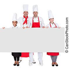 旗幟, 廚師, 組, 提出, 空