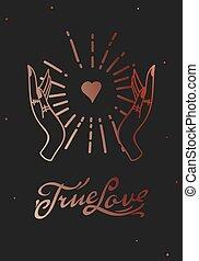 旗幟, 手, card., 畫, 真實的愛, 深奧, 略述, style., 魔術, 線, 矢量, 心不在焉地亂寫亂畫, 网, 插圖