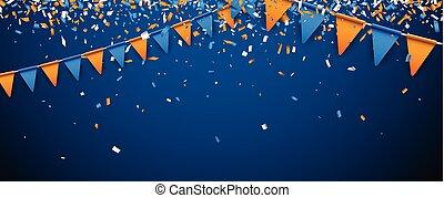 旗幟, 由于, 旗, 以及, confetti.