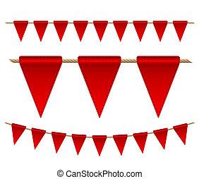 旗, お祝い, 背景, 白い赤