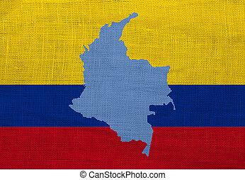 旗, そして, 地図, の, コロンビア, 上に, a, sackcloth