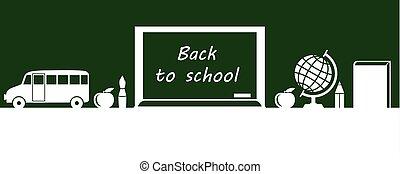 旗, ∥で∥, 学校, 板, 上に, 緑の背景
