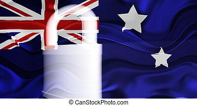 旗, の, オーストラリア, 波状, セキュリティー