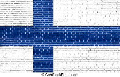 旗, の, フィンランド, 上に, れんがの壁, 手ざわり, 背景