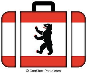 旗, の, berlin., スーツケース, アイコン, 旅行, そして, 交通機関, 概念