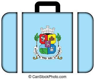 旗, の, sofia., スーツケース, アイコン, 旅行, そして, 交通機関, 概念