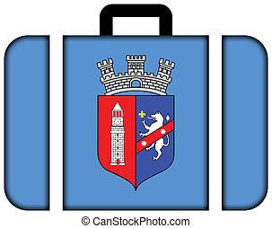 旗, の, tirana., スーツケース, アイコン, 旅行, そして, 交通機関, 概念
