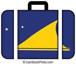 旗, の, tokelau., スーツケース, アイコン, 旅行, そして, 交通機関, 概念