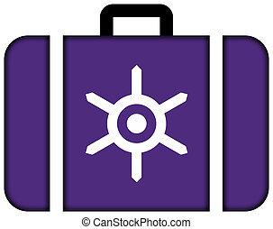 旗, の, tokyo., スーツケース, アイコン, 旅行, そして, 交通機関, 概念