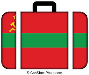 旗, の, transnistria., スーツケース, アイコン, 旅行, そして, 交通機関, 概念