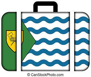 旗, の, vancouver., スーツケース, アイコン, 旅行, そして, 交通機関, 概念