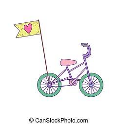 旗, わずかしか, 輸送, 漫画, 自転車