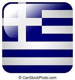 旗, アイコン, グロッシー, ギリシャ