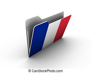 旗, アイコン, フォルダー, フランス