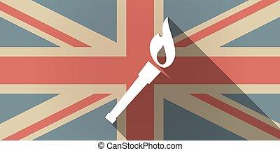 旗, アイコン, 長い間, イギリス, 影, トーチ