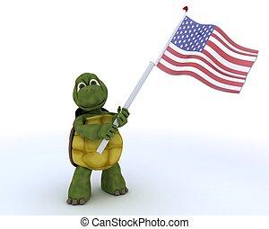 旗, アメリカ人, カメ