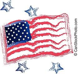 旗, アメリカ人, グランジ, ロゴ