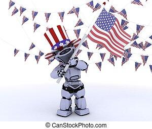旗, アメリカ人, ロボット