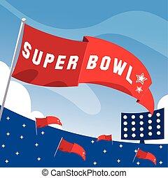 旗, アメリカ人, 競技場, フットボール, 赤