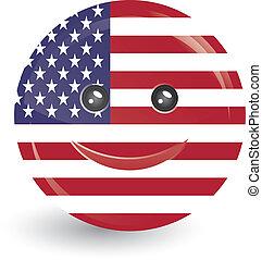 旗, アメリカ, 合併した, 顔, 州, 微笑, 形