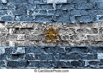 旗, アルゼンチン, ペイントされた壁, れんが