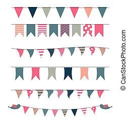 旗, イラスト, パーティー, セット, ベクトル