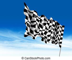 旗, イラスト, 勝利