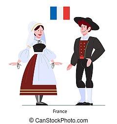 旗, イラスト, 国民, 市民, 衣装, フランス, ベクトル