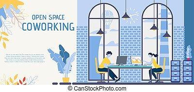 旗, オフィス, ベクトル, スペース, coworking, 開いた, 平ら