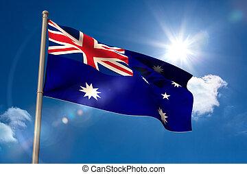 旗, オーストラリア, 国民, flagpole