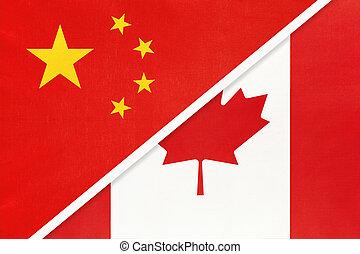 旗, カナダ, countries., アジア アメリカ人, 陶磁器, prc, textile., ∥対∥, ∥あるいは∥, ∥間に∥, 国民, 関係