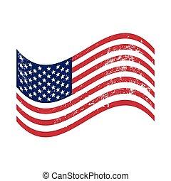 旗, グランジ, アメリカ人, 振ること