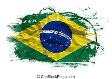 旗, グランジ, 上に, 手ざわり, brasil
