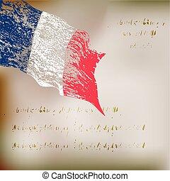 旗, グランジ, 背景, フランス