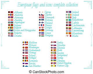 旗, コレクション, ヨーロッパ