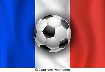 旗, サッカーボール, フランス