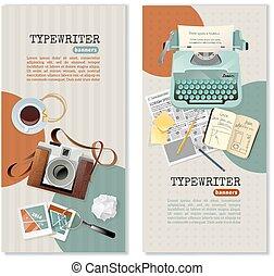 旗, ジャーナリスト, 縦, タイプライター
