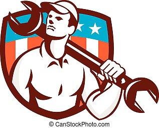 旗, スパナー, アメリカ, レンチ, レトロ, 機械工