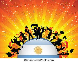 旗, スポーツ, ファン, アルゼンチン, 群集