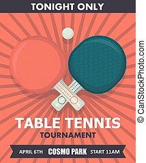 旗, スポーツ, day., ball., いやなにおいがしなさい, イラスト, ラケット, テーブル, ベクトル, 装置, ポスター, テニス, ピング