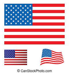 旗, セット, アメリカ