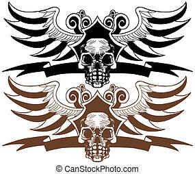 旗, セット, 頂上, 翼, 頭骨